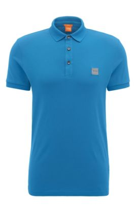 Polo slim fit in piqué elasticizzato, Blue Scuro