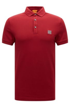 Slim-fit poloshirt in stretchpiqué, Rood
