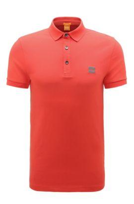 Slim-Fit Poloshirt aus elastischem Piqué, Rot