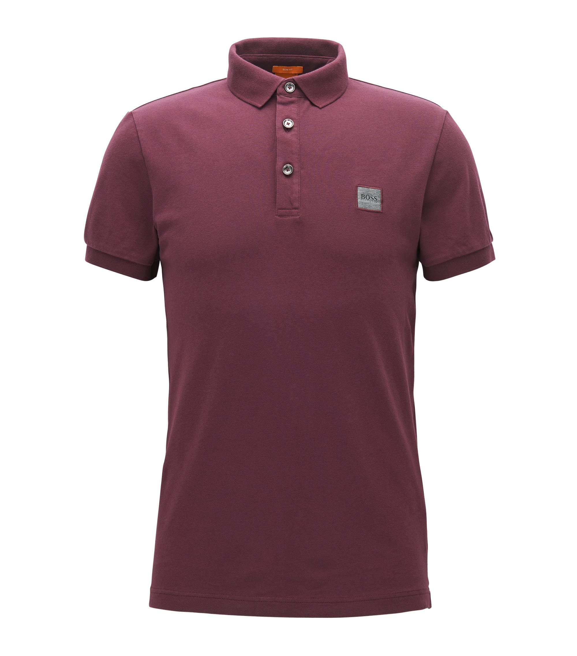 Slim-fit poloshirt in stretchpiqué, Donkerrod