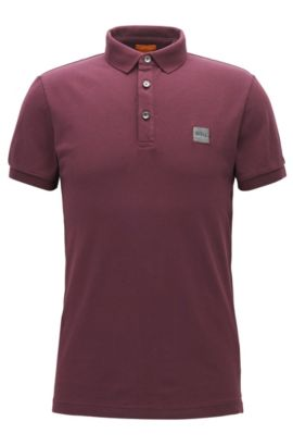 Slim-fit polo shirt in stretch piqué, Dark Red