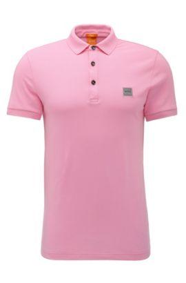 Slim-Fit Poloshirt aus elastischem Piqué, Hellrosa