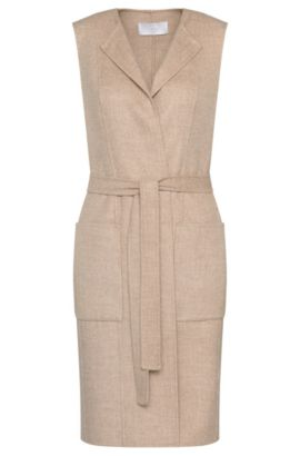 Long waistcoat in wool blend with wrap belt: 'Katsyna', Light Beige