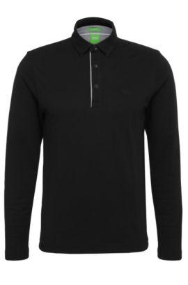 Regular-Fit Langarm-Polo aus Baumwolle: ´C-Tivoli 1`, Schwarz