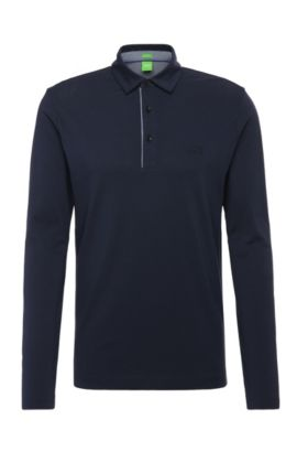 Polo de manga larga regular fit en algodón: 'C-Tivoli 1', Azul oscuro