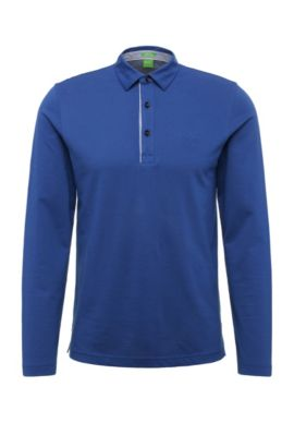 Regular-fit long-sleeved polo shirt in cotton: 'C-Tivoli 1', Open Blue