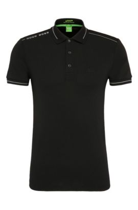 Quick-drying slim-fit polo shirt in a stretchy cotton blend: 'Paule', Black
