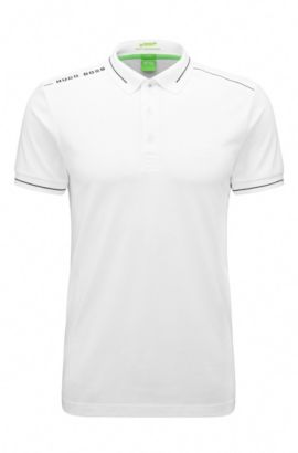 Quick-drying slim-fit polo shirt in a stretchy cotton blend: 'Paule', Natural