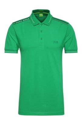 Quick-drying slim-fit polo shirt in a stretchy cotton blend: 'Paule', Open Green