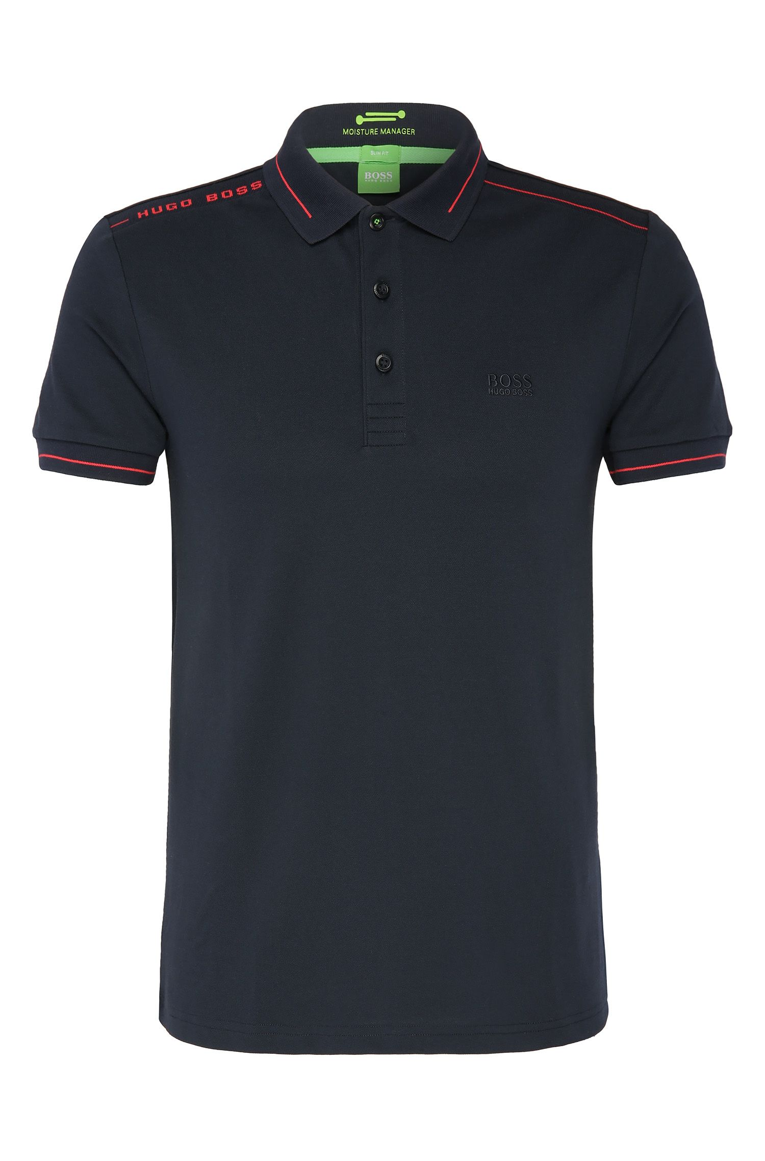 Quick-drying slim-fit polo shirt in a stretchy cotton blend: 'Paule'