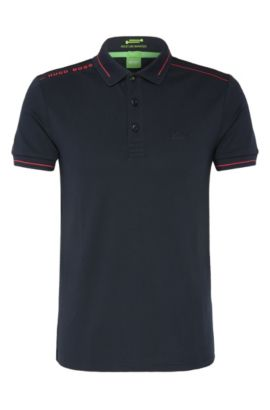 Quick-drying slim-fit polo shirt in a stretchy cotton blend: 'Paule', Dark Blue