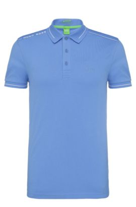 Quick-drying slim-fit polo shirt in a stretchy cotton blend: 'Paule', Blue