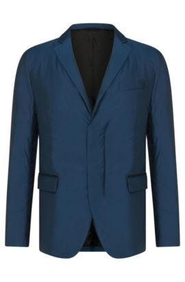 Padded slim-fit jacket with a lapel collar and flap pockets: 'Nevill', Turquoise
