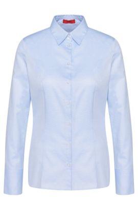 Leicht taillierte Hemdbluse aus reiner Baumwolle: 'Etrixe1', Hellblau