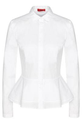 Hemdbluse aus Stretch-Baumwolle mit Schößchen-Detail: 'Esil', Weiß