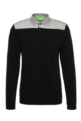 Functional slim-fit long-sleeved polo shirt in stretch cotton blend: 'Pleesy 1', Black