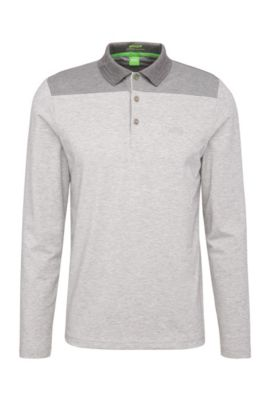 Functional slim-fit long-sleeved polo shirt in stretch cotton blend: 'Pleesy 1', Light Grey