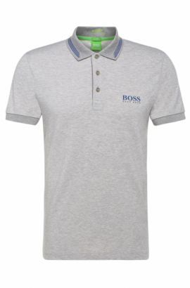 Slim-fit polo shirt in a stretchy cotton blend: 'Paule Pro', Light Grey