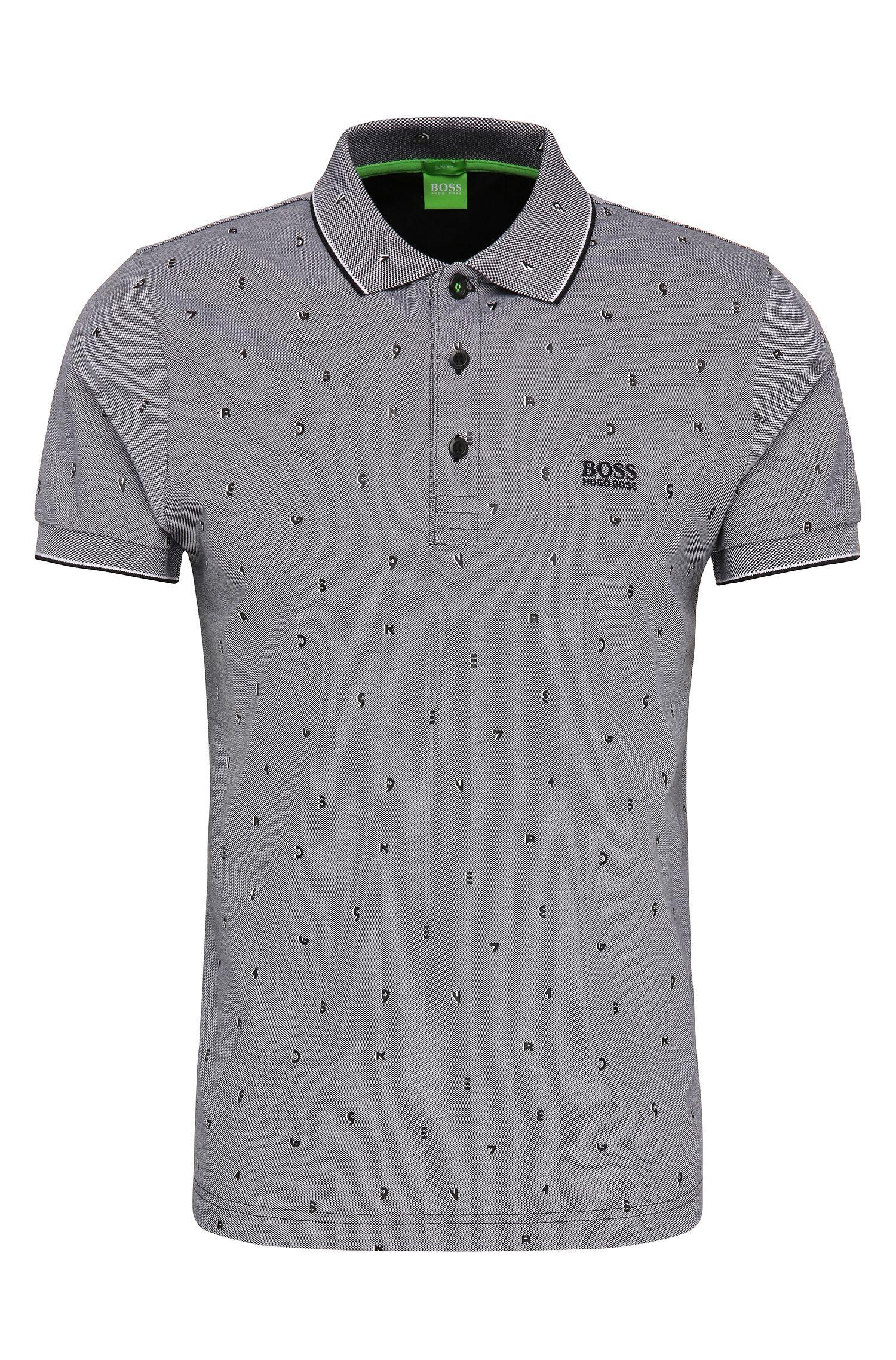 Gemustertes Slim-Fit Poloshirt aus Baumwolle: ´Paule 2`