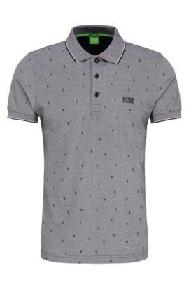 Gemustertes Slim-Fit Poloshirt aus Baumwolle: ´Paule 2`, Schwarz