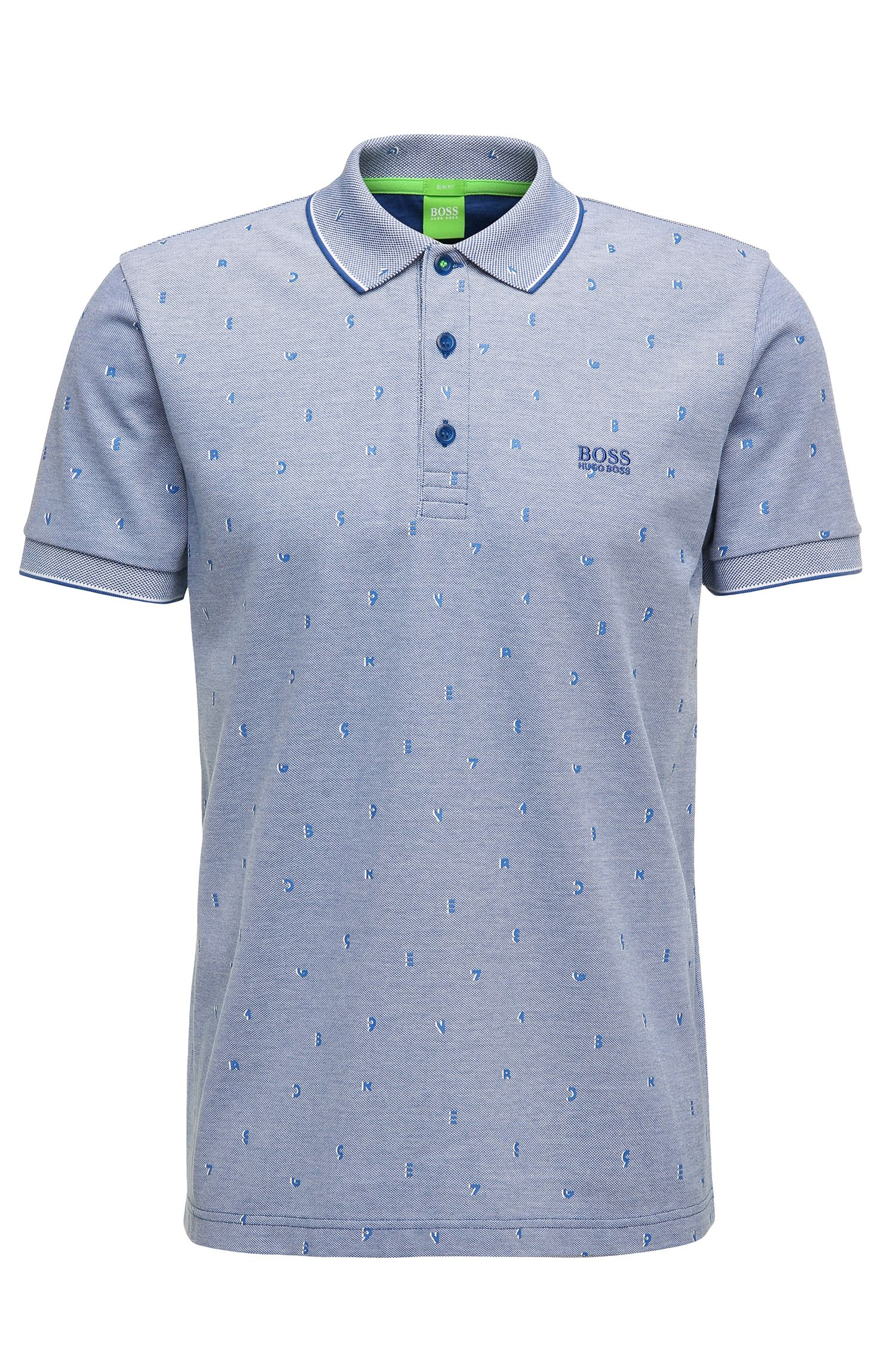 Patterned slim-fit polo shirt in cotton: 'Paule 2'