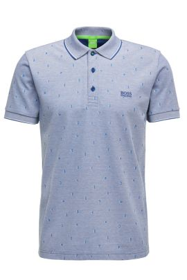 Patterned slim-fit polo shirt in cotton: 'Paule 2', Open Blue