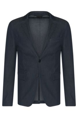 Jacket in cotton blend in jeans look: 'Ronas-W', Dark Blue