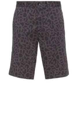 Slim-fit Bermuda shorts in stretch cotton with a letter pattern: 'Liem3-1-W', Black