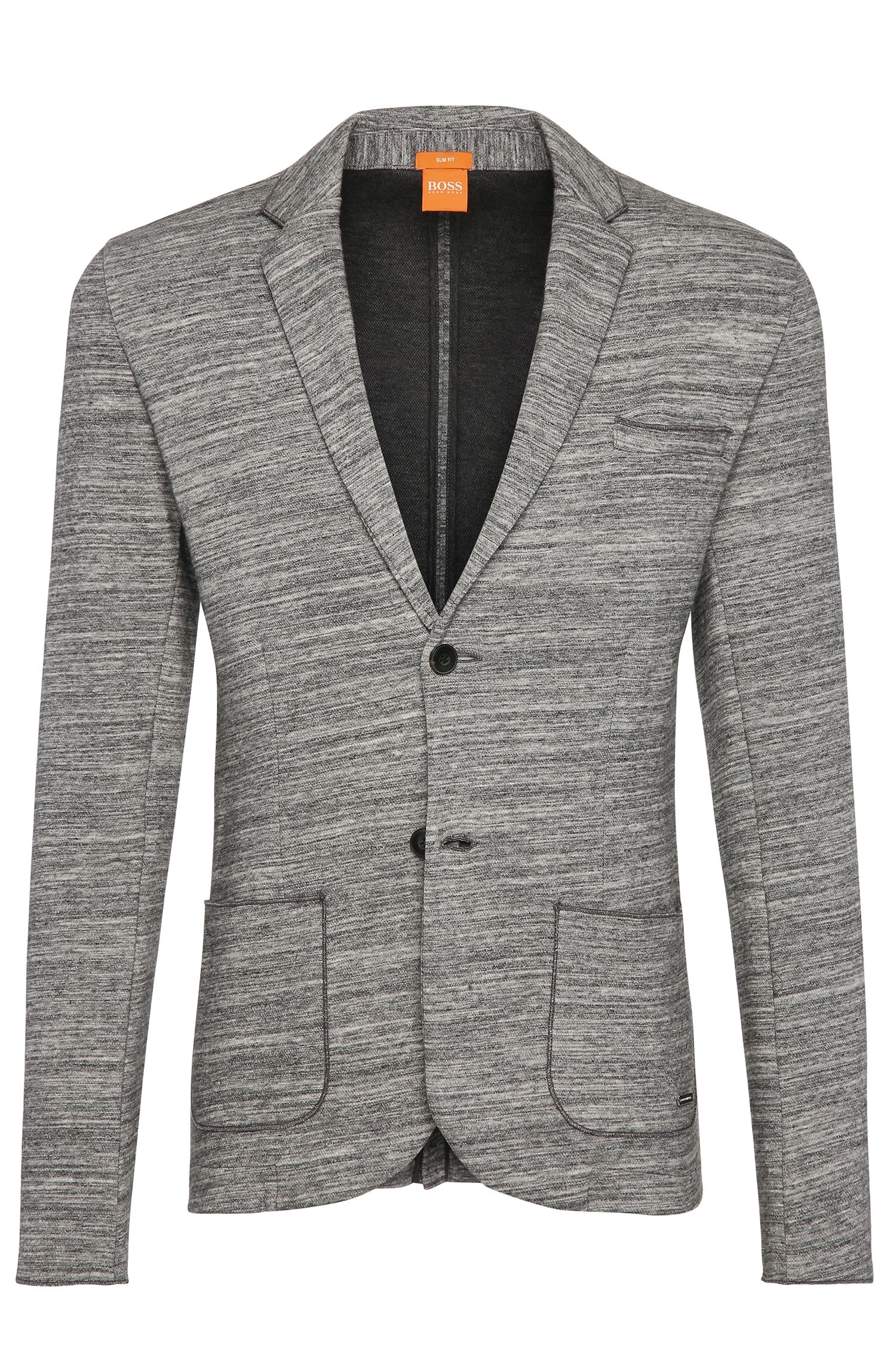 Mottled slim-fit jacket in cotton: 'Wellford'