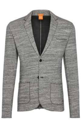 Mottled slim-fit jacket in cotton: 'Wellford', Light Grey
