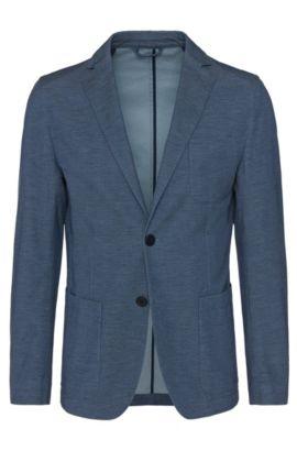 Sakko aus elastischer Baumwolle mit aufgesetzten Taschen: 'Narvik2-W', Blau