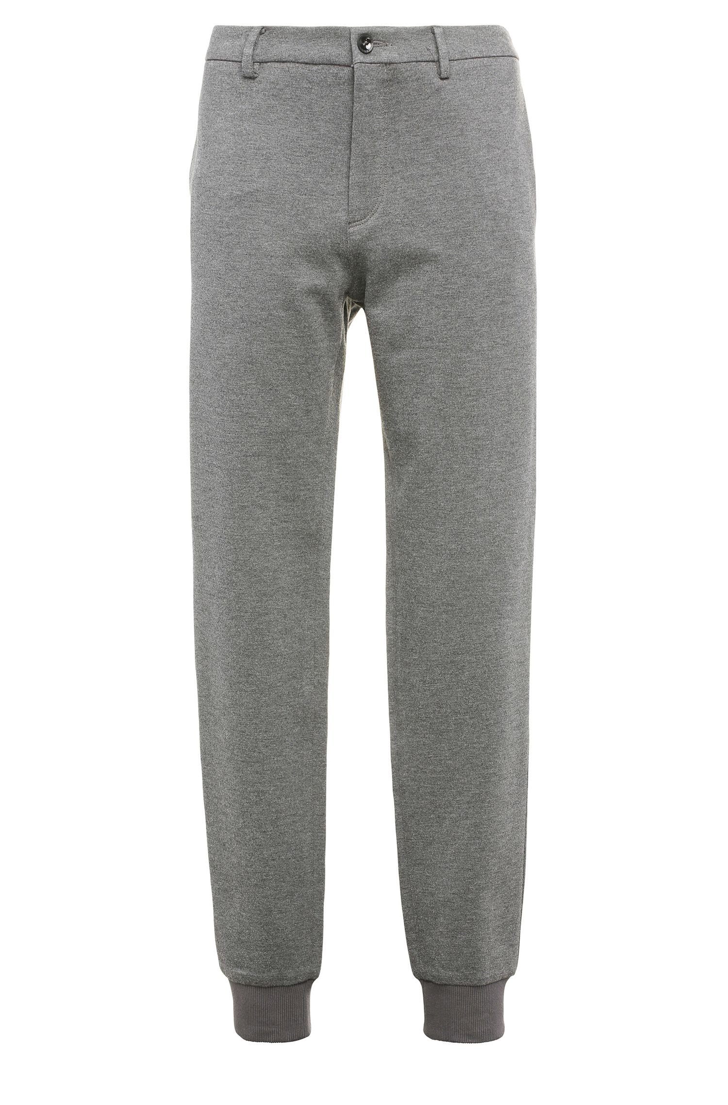 Mottled slim-fit jersey trousers in stretchy viscose blend: 'Lukes 7-W'