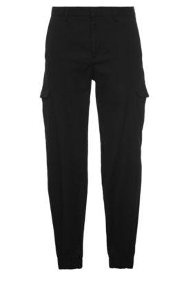Pantalón tapered fit en algodón con textura: 'Loomes-2-W', Negro