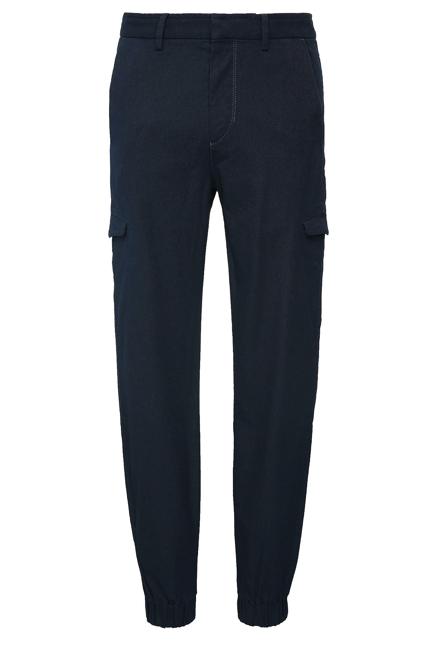 Tapered-fit trousers in textured cotton: 'Loomes-2-W'