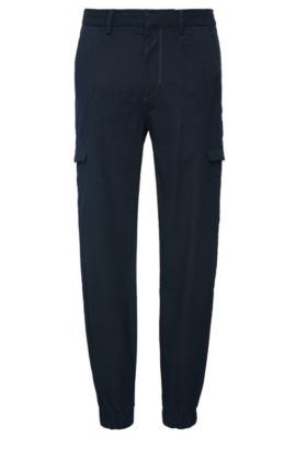 Tapered-fit trousers in textured cotton: 'Loomes-2-W', Dark Blue