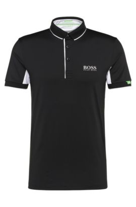 Polo Slim Fit en tissu extensible fonctionnel: «Paddy Mk», Noir
