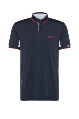 Slim-fit polo shirt in stretch functional fabric: 'Paddy Mk', Dark Blue