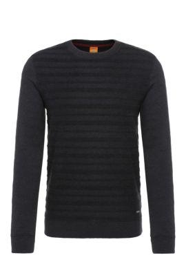 Jersey regular fit de rayas en mezcla de algodón: 'Wertigo', Negro