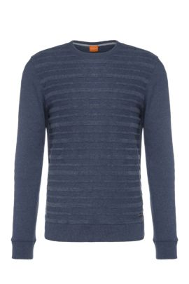 Striped regular-fit sweater in cotton blend: 'Wertigo', Dark Blue