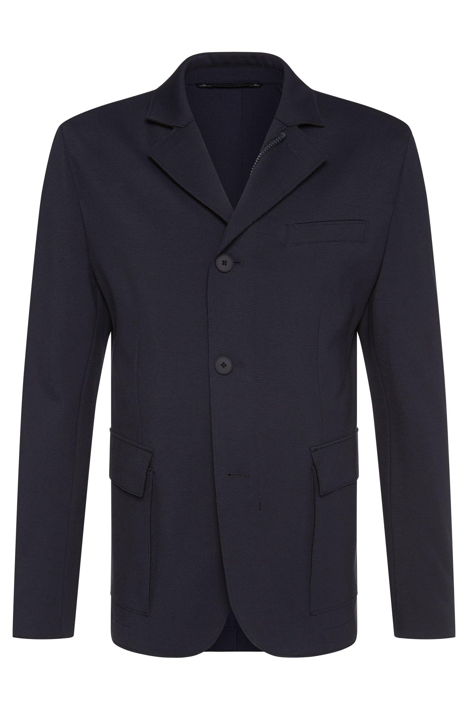 Veste de costume Slim Fit Tailored en viscose mélangée extensible, fermée par un zip: «T-Niam»