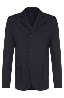Slim-fit Tailored jacket in stretch viscose blend with zip: 'T-Niam', Dark Blue