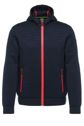 Textured regular-fit hooded jacket in fabric blend with viscose: 'Savel', Dark Blue