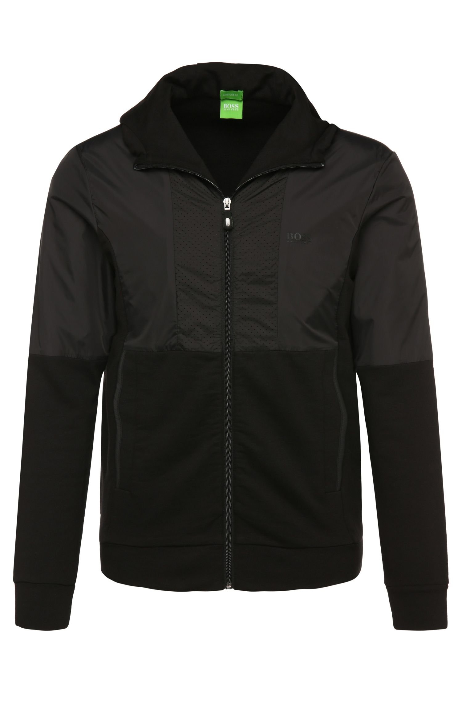 Regular-fit sweatshirt jacket in cotton with contrasting trim: 'Sivon'