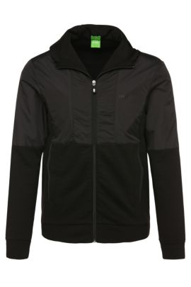 Regular-fit sweatshirt jacket in cotton with contrasting trim: 'Sivon', Black