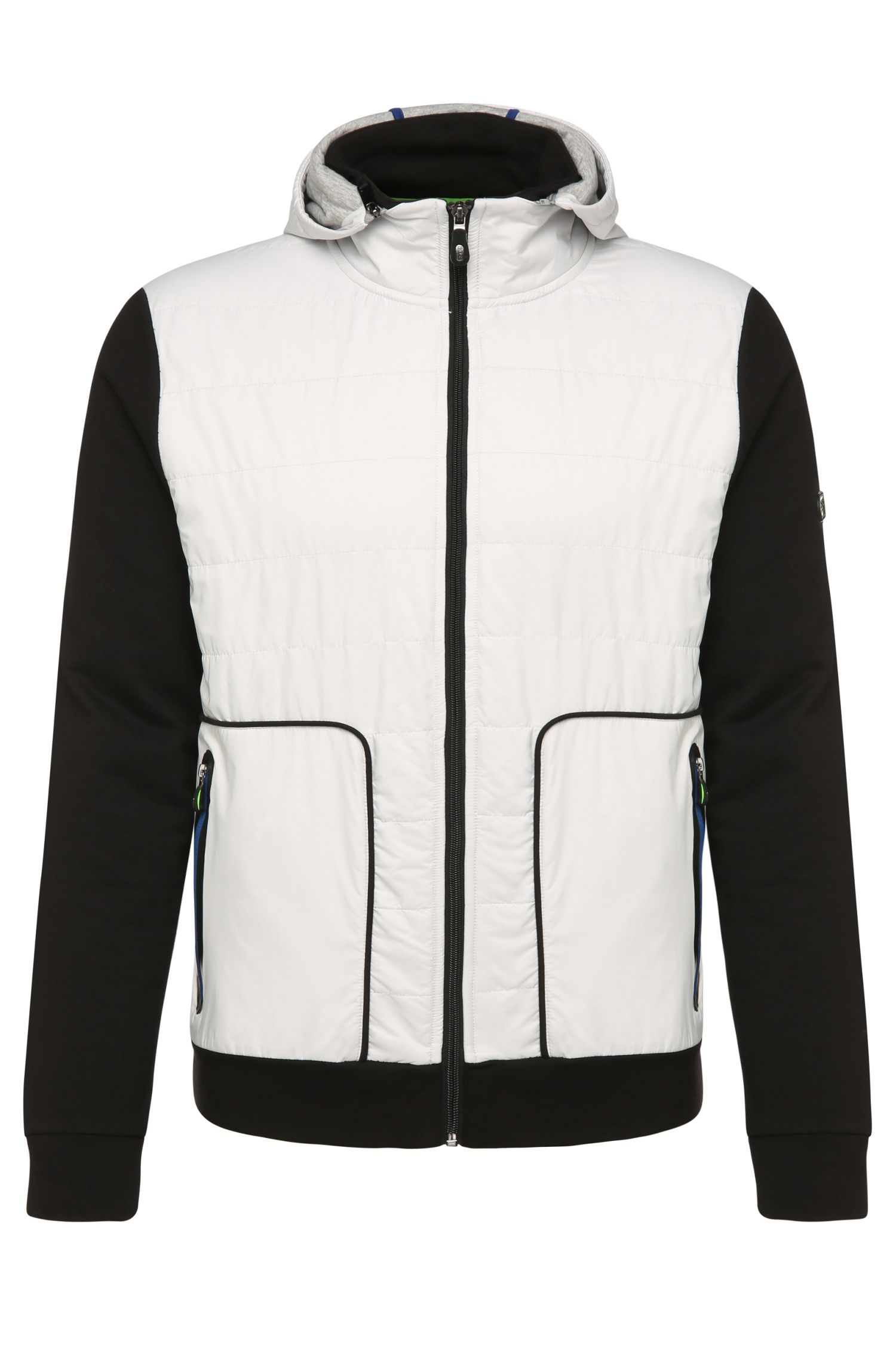 Regular-fit sweatshirt jacket in cotton with contrasting trim: 'Sarun'