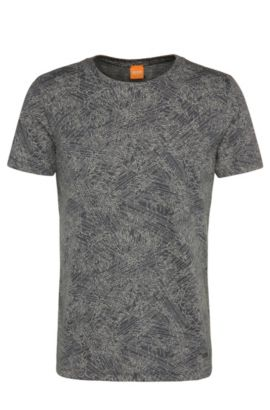 T-shirt relaxed fit a disegni, in materiali misti con cotone e modal: 'Tauryon', Blu scuro