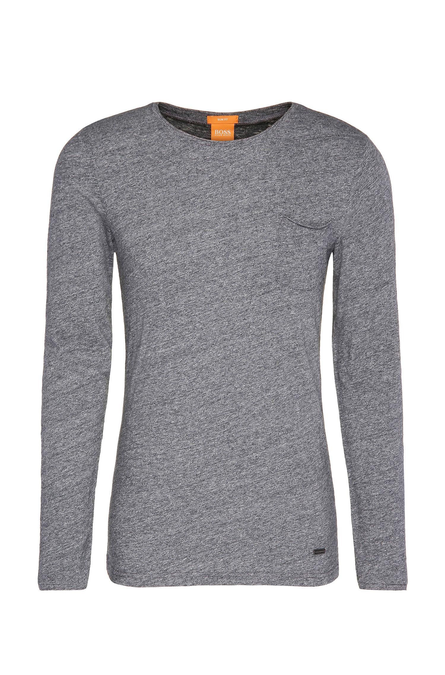 Meliertes Slim-Fit Langarmshirt aus Baumwolle: ´Terrence`