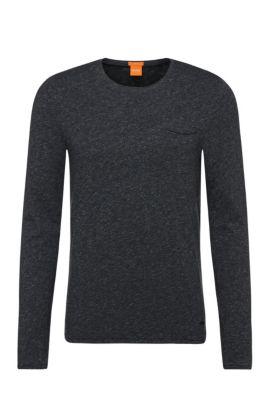 Meliertes Slim-Fit Langarmshirt aus Baumwolle: ´Terrence`, Dunkelblau