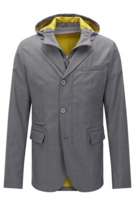 Water-repellent Tailored jacket in new wool blend in the style of a tailored jacket: 'T-Nuka', Grey