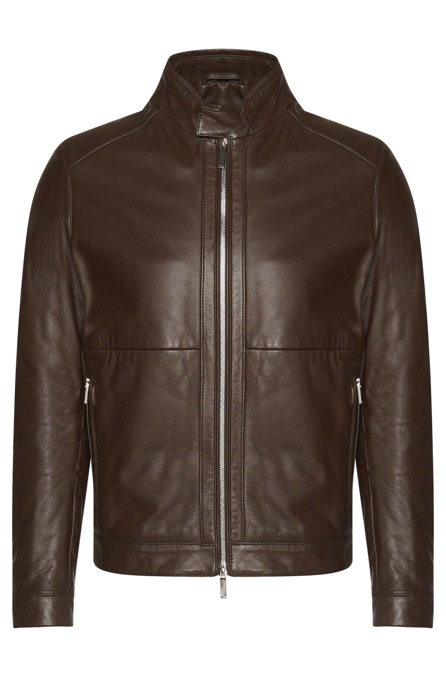 Leather jacket with short band collar: 'Nortilo'